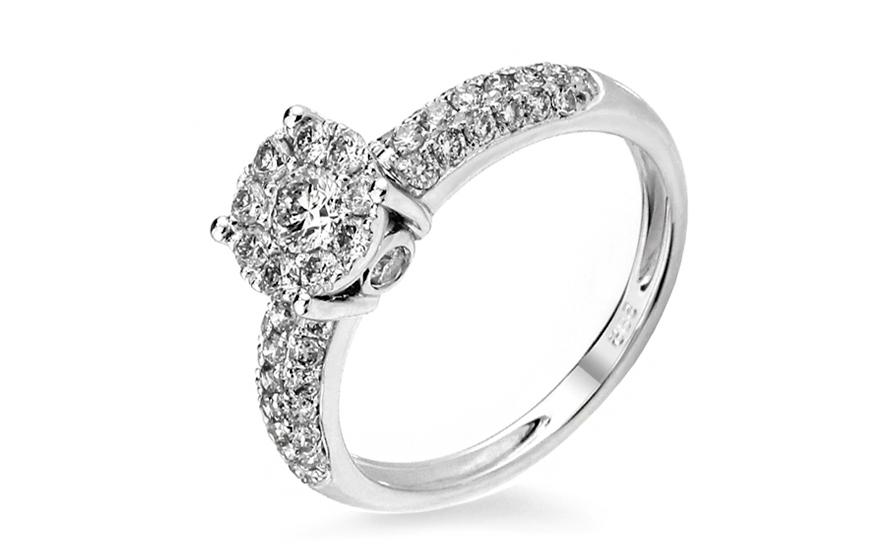 Zlatý zásnubní prsten s diamanty Océane IZBR223A