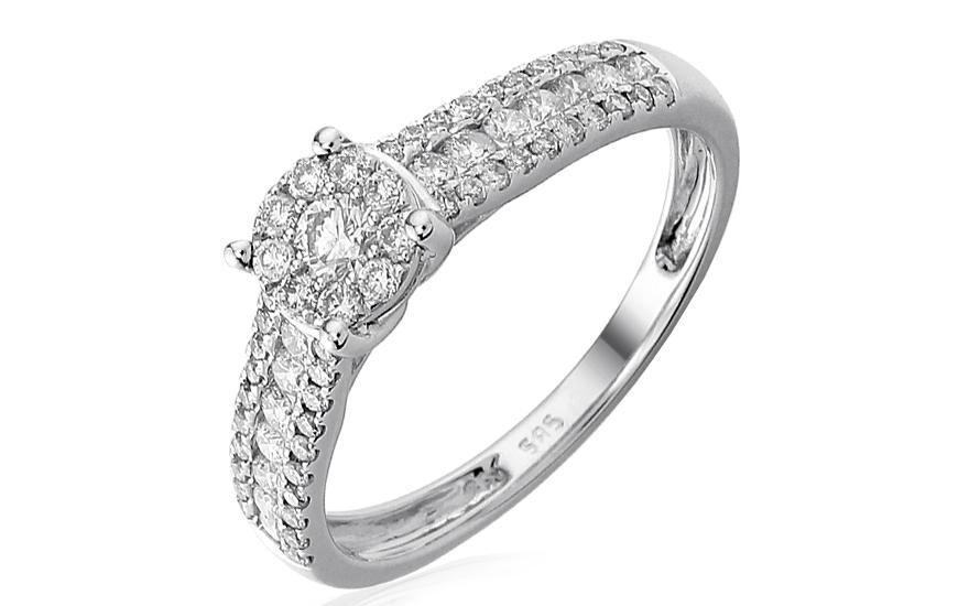Zlatý zásnubní prsten s diamanty Peony IZBR229A