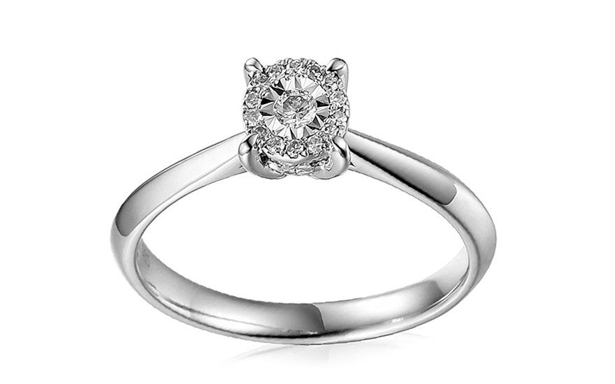 Zlatý zásnubní prsten s diamanty Rasia IZBR162A