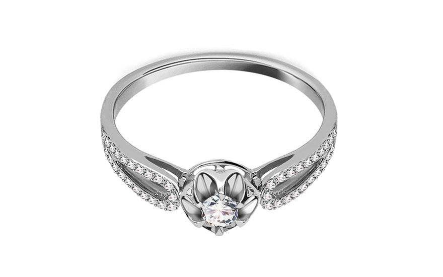 Zlatý zásnubní prsten s diamanty Rubia KU415A