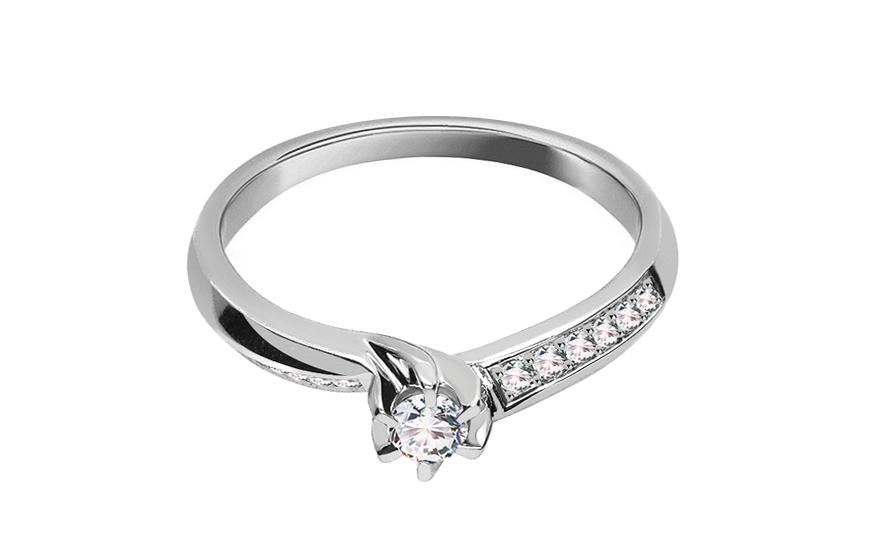 Zlatý zásnubní prsten s diamanty Shoshana KU417A