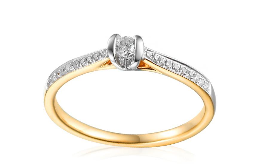 Zlatý zásnubní prsten s diamanty Sienna IZBR248
