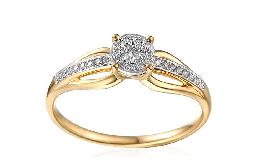 Zlatý zásnubní prsten s diamanty Ysabelle IZBR259