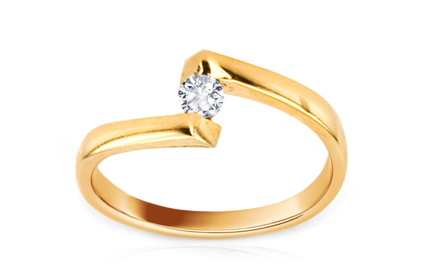 Zlatý zásnubní prsten s kamínkem IZKA337
