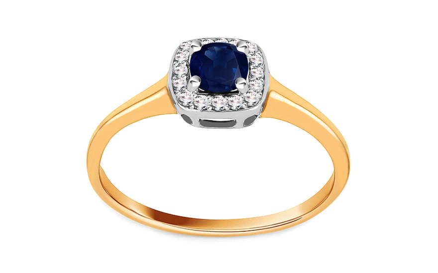 Zlaty Zasnubni Prsten Se Safirem A Diamanty 0 070 Ct Daviena Pro