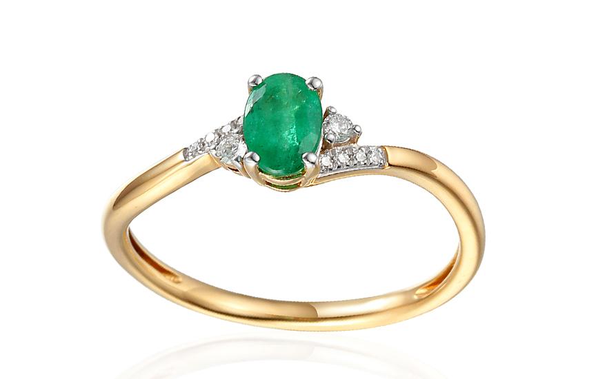 Zlatý zásnubní prsten se smaragdem a diamanty 0,050 ct Melinda 2 IZBR456S