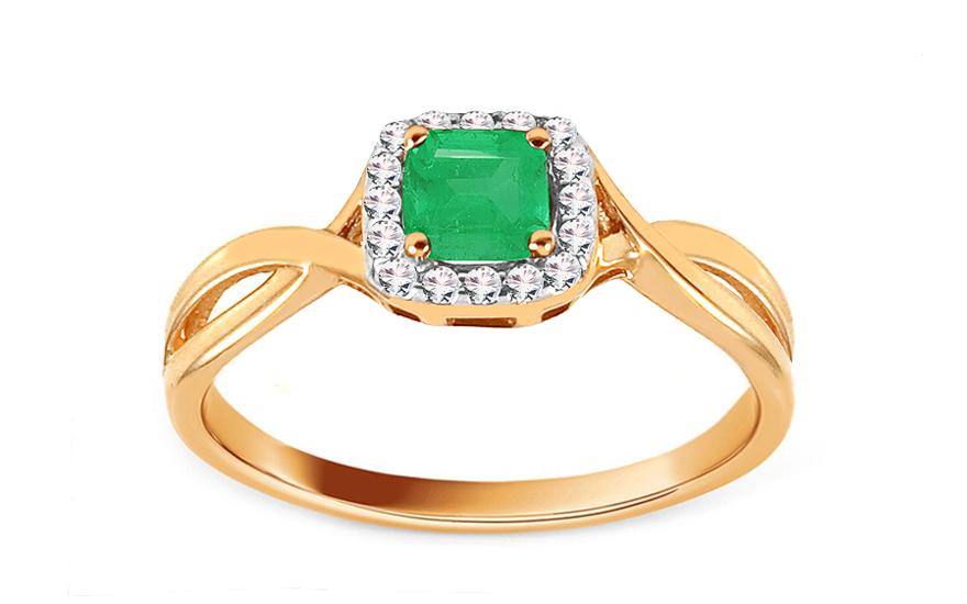 Zlatý zásnubní prsten se smaragdem a diamanty 0,070 ct Cailey 2 ROYBR031YS