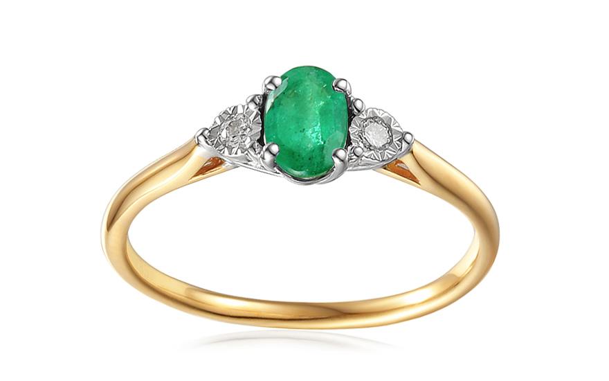 Zlatý zásnubní prsten se smaragdem a diamanty 0,080 ct Stenya 2 IZBR459S