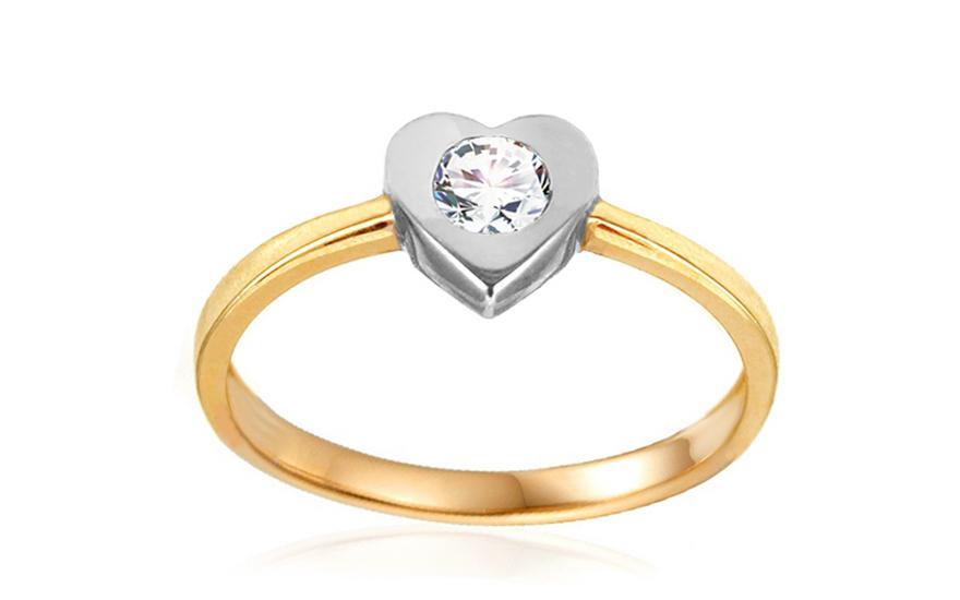 Zlatý zásnubní prsten se srdcem Tierra IZ10618