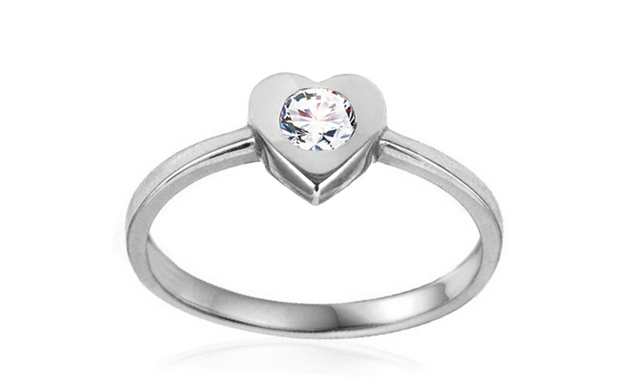 Zlatý zásnubní prsten se srdcem Tierra white IZ10618A