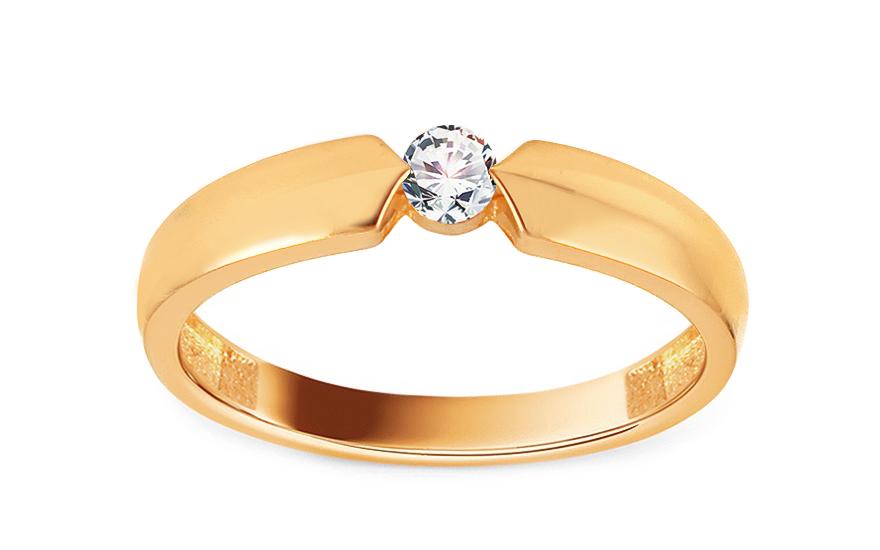 Zlatý zásnubní prsten se zirkonem Aletha IZ13042