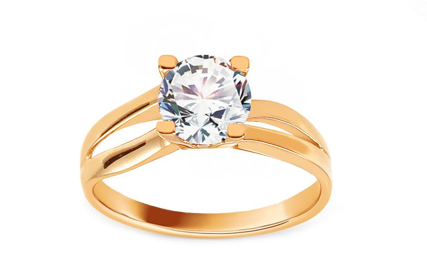 Zlatý zásnubní prsten se zirkonem Alisanne IZ13324