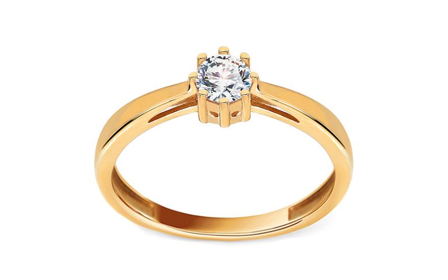 Zlatý zásnubní prsten se zirkonem Allaire IZ11282