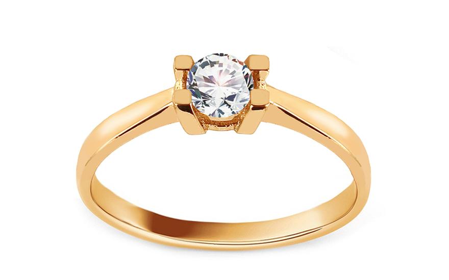 Zlatý zásnubní prsten se zirkonem Beatrisa IZ12537