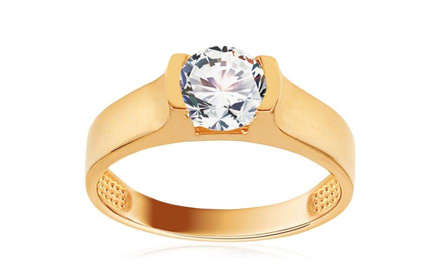 Zlatý zásnubní prsten se zirkonem Beomia IZ13048