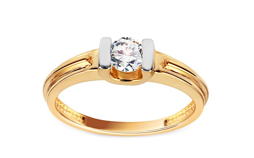 Zlatý zásnubní prsten se zirkonem Bria IZ11161