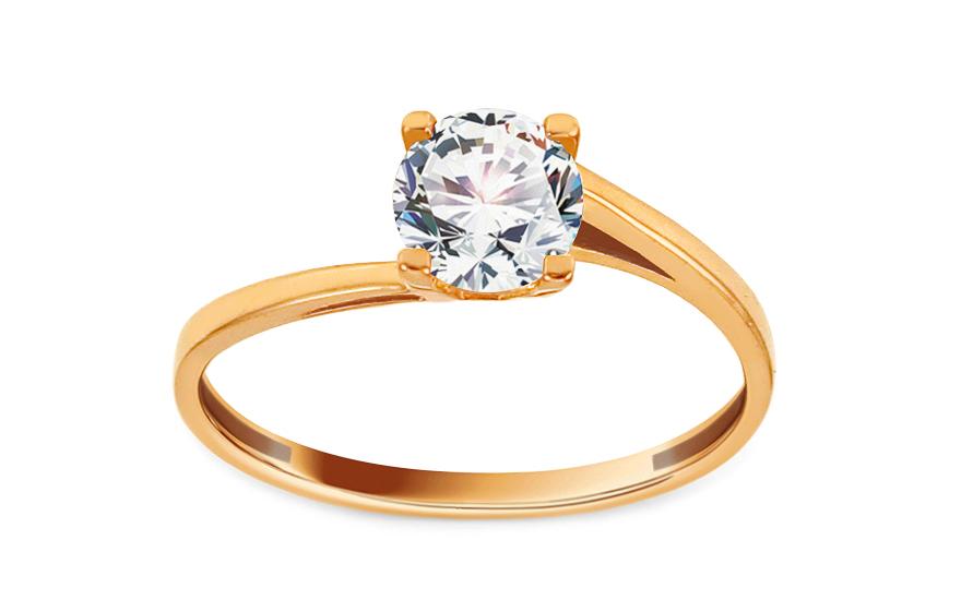 Zlatý zásnubní prsten se zirkonem Cherin IZ12995