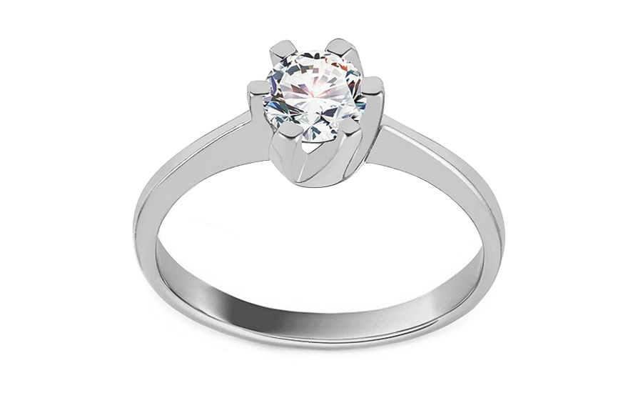 d2a17b404 Zlatý zásnubní prsten se zirkonem Delilah white, pro ženy (IZ11301A ...