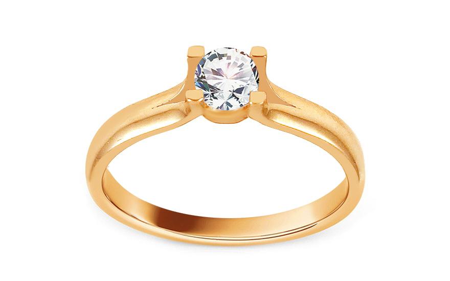 Zlatý zásnubní prsten se zirkonem Dreama IZ13677