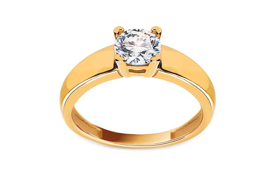Zlatý zásnubní prsten se zirkonem Evelyn IZ11283