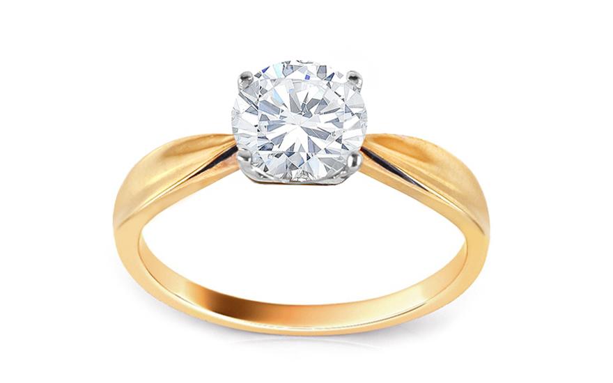 Zlatý zásnubní prsten se zirkonem Fantine CSRI3016