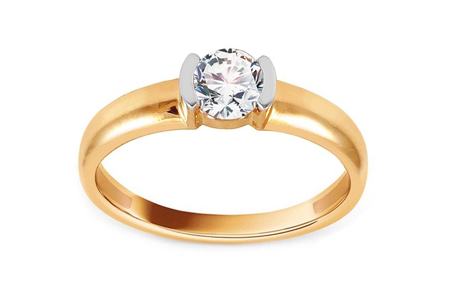 Zlatý zásnubní prsten se zirkonem Frieda IZ13762