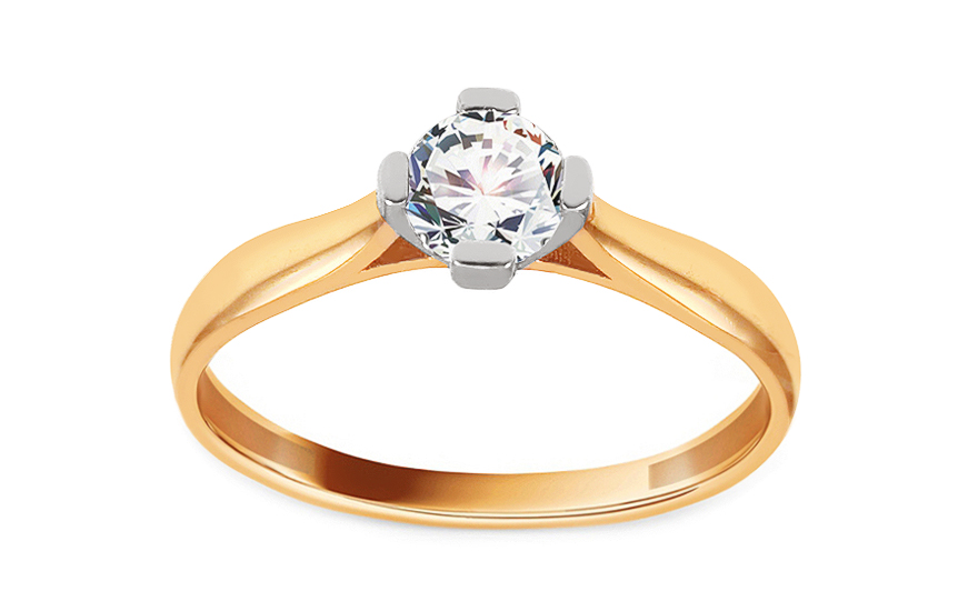 Zlatý zásnubní prsten se zirkonem Giana IZ13676YW