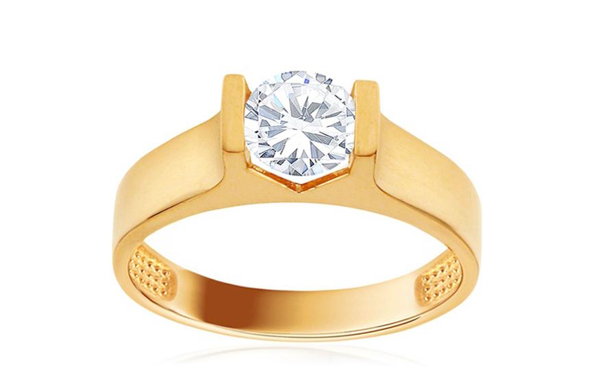 Zlatý zásnubní prsten se zirkonem Haven IZ10742