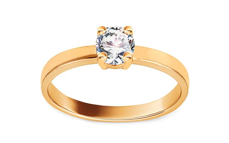 Zlatý zásnubní prsten se zirkonem Jaeda IZ13204