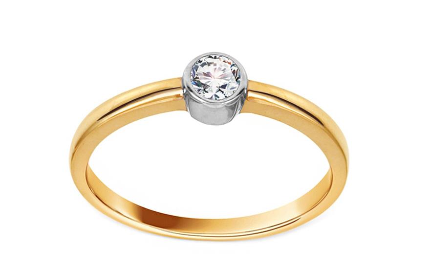 Zlatý zásnubní prsten se zirkonem Janis IZ10621