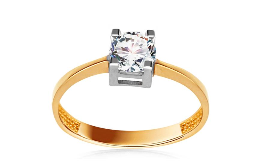 Zlatý zásnubní prsten se zirkonem Kandi IZ10631