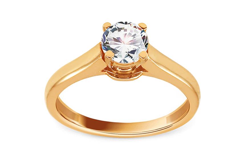 Zlatý zásnubní prsten se zirkonem Katyin IZ13696