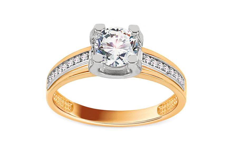 Zlatý zásnubní prsten se zirkonem Kenley IZ11281