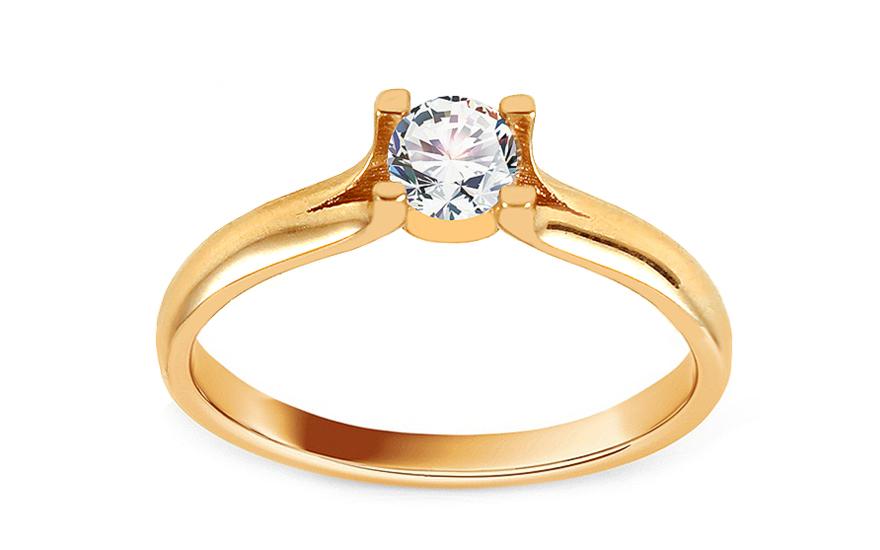 Zlatý zásnubní prsten se zirkonem Kirilla IZ12539