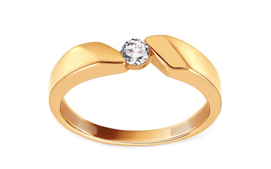 Zlatý zásnubní prsten se zirkonem Lissette IZ13712