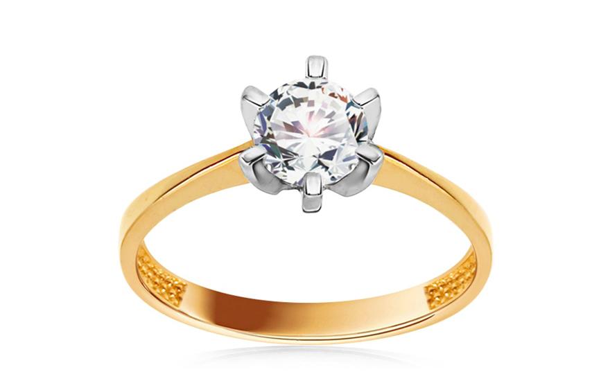 Zlatý zásnubní prsten se zirkonem Lizeth IZ10629