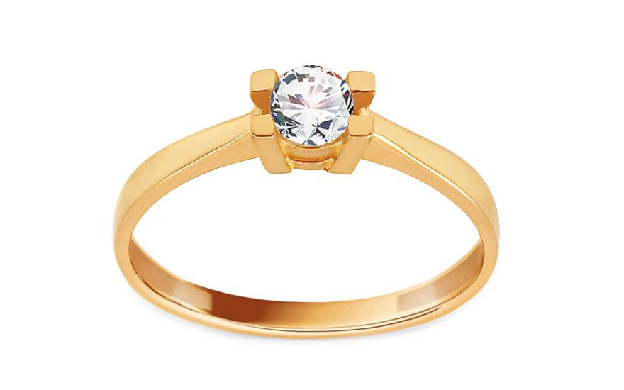Zlatý zásnubní prsten se zirkonem Lorretta IZ13697