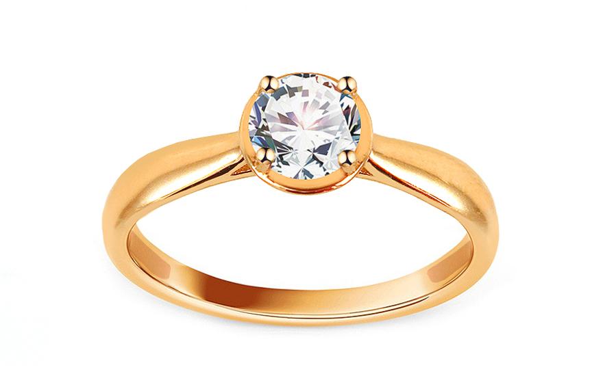 Zlatý zásnubní prsten se zirkonem Mandisa IZ13698