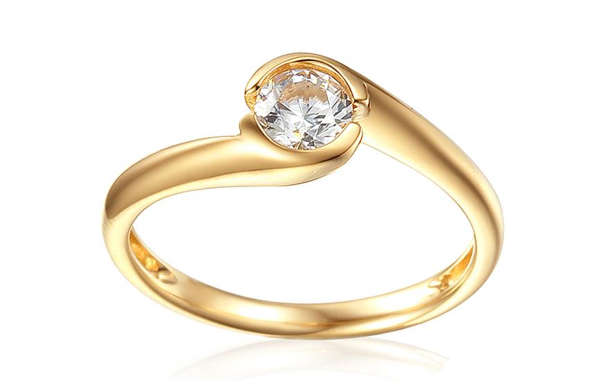 Zlatý zásnubní prsten se zirkonem Mariyah IZZR001