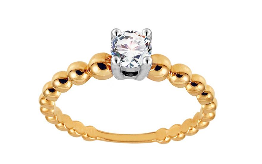 Zlatý zásnubní prsten se zirkonem Mayra IZ10630