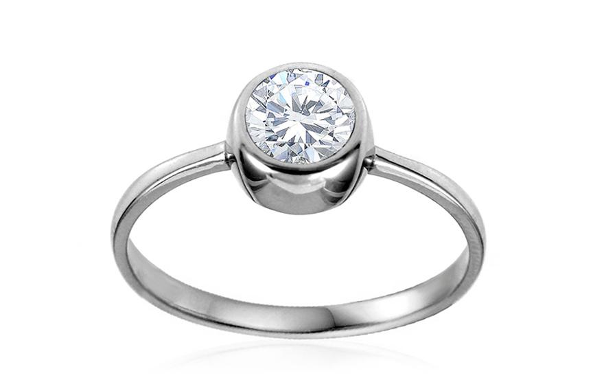 Zlatý zásnubní prsten se zirkonem Neiva IZ10615A