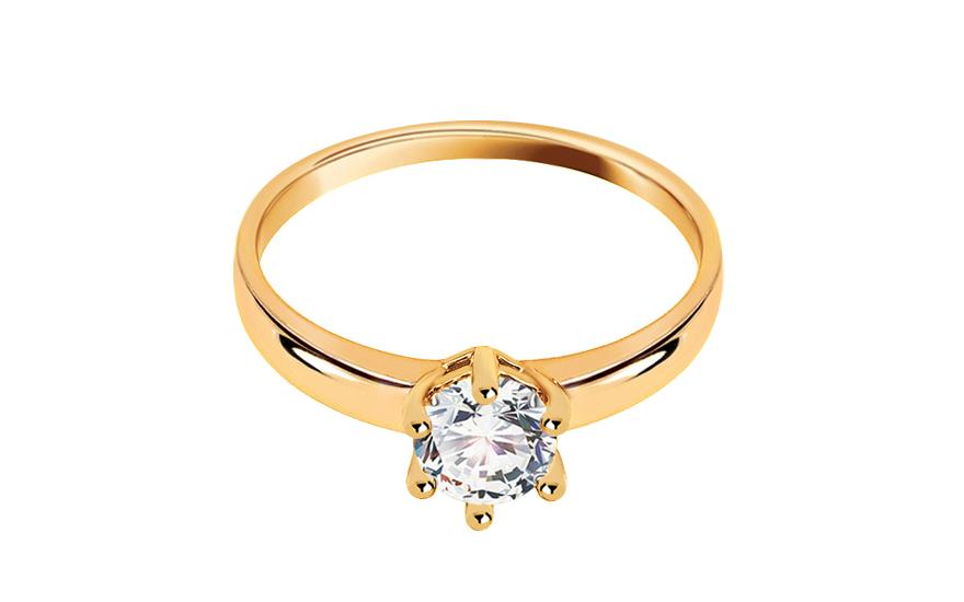 Zlatý zásnubní prsten se zirkonem Noele IZ11280