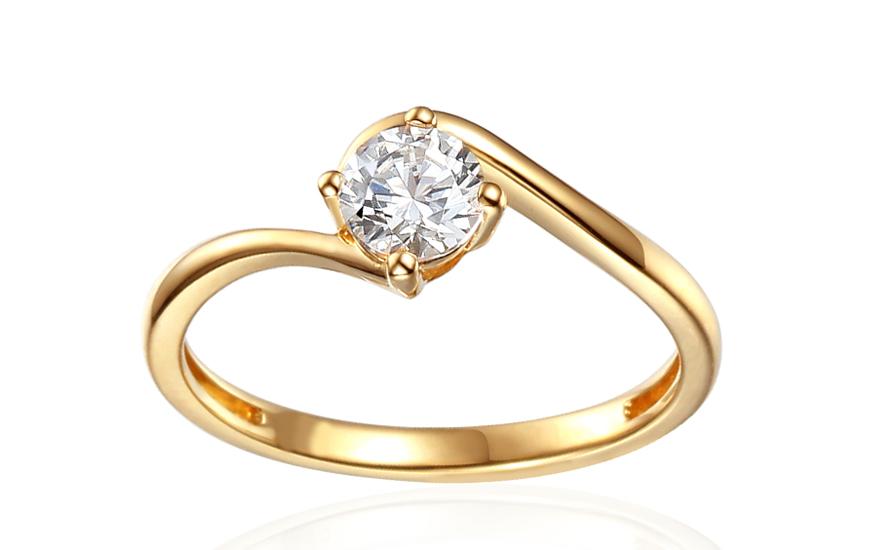 Zlatý zásnubní prsten se zirkonem Priscilla IZZR021