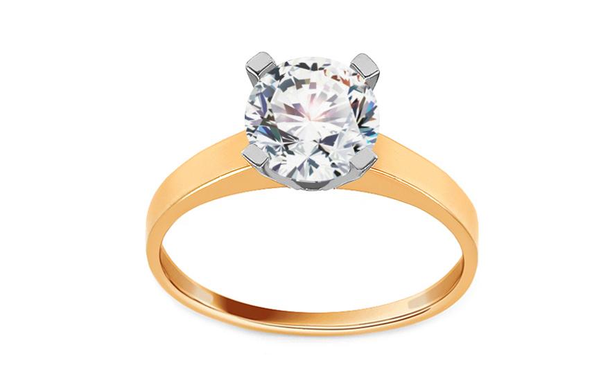 Zlatý zásnubní prsten se zirkonem Sabine CSRI3011