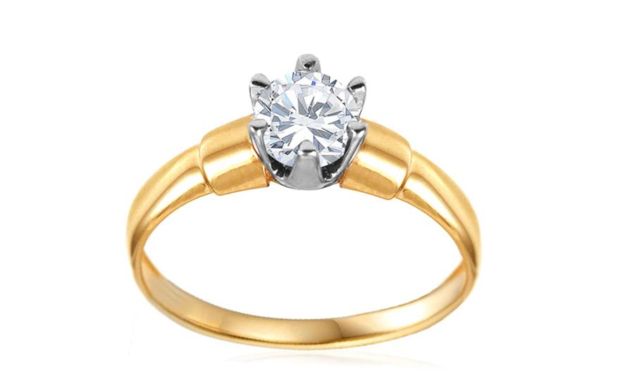 Zlatý zásnubní prsten se zirkonem Severa IZ10625