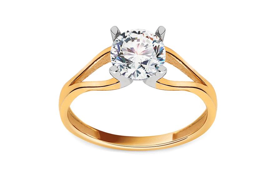 Zlatý zásnubní prsten se zirkonem Shelley IZ13268