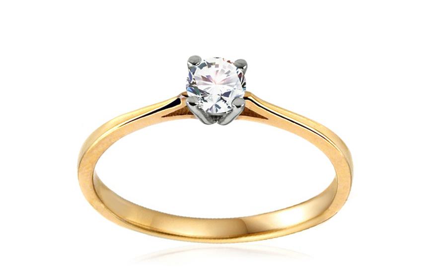 Zlatý zásnubní prsten se zirkonem Verdiana IZ10628