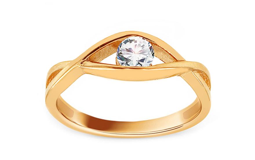 Zlatý zásnubní prsten se zirkonem Wateka IZ13686