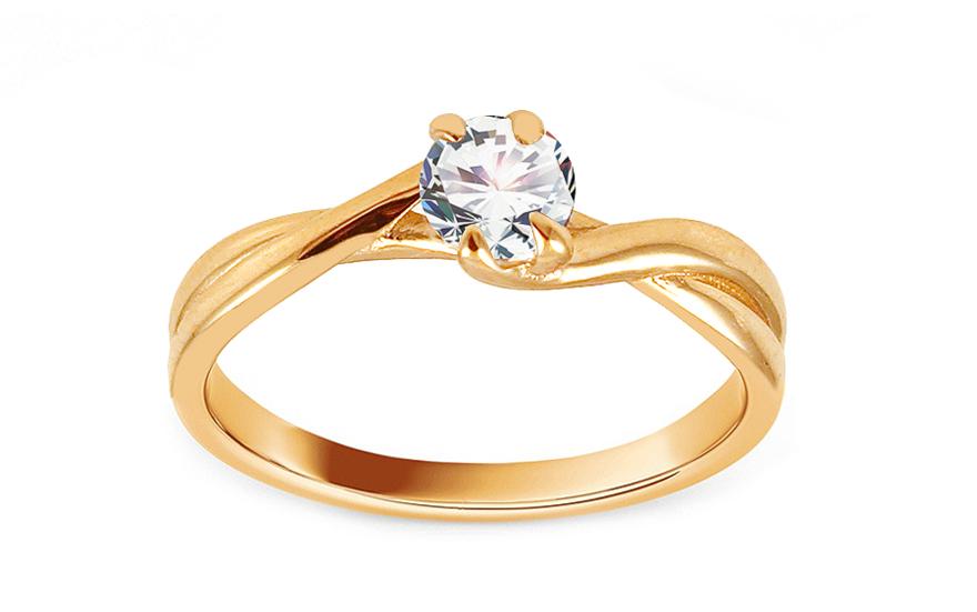 Zlatý zásnubní prsten se zirkonem Yamura IZ13690