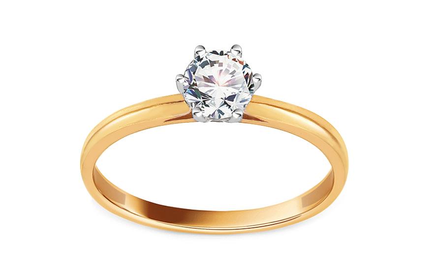 Zlatý zásnubní prsten se zirkonem Zarina IZ13670